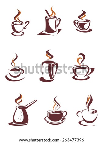 Brown cups and mugs of hot coffee, cappuccino, latte or chocolate with curly steam swirls in outline sketch style suitable for cafe or coffee shop menu design - stock vector