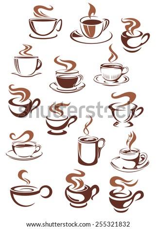Brown cups and mugs of strong aroma hot coffee, espresso or sweet cappuccino, latte, chocolate in doodle sketch style for cafe or coffee house design - stock vector