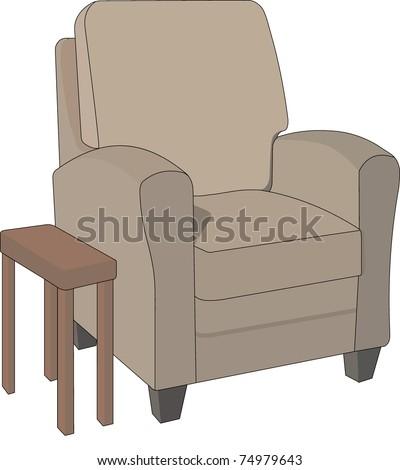 Brown cushy chair and side table  editable vector illustration - stock vector