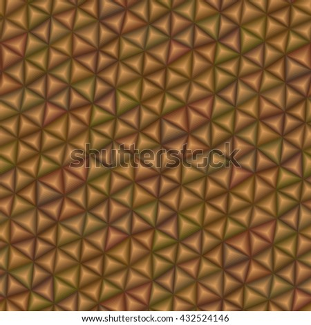 Brown 3d triangle tiles - seamless vector pattern - stock vector