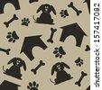 brown dog house bone paw seamless pattern - stock vector