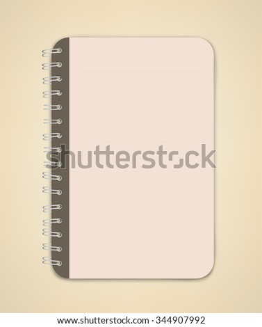 Brown Edge Color Blank Notebook Vector  - stock vector