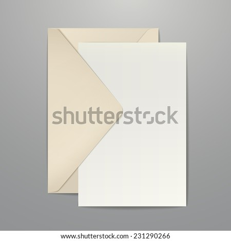 brown envelope and blank letter isolated on white - stock vector