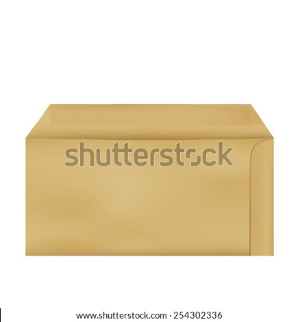 Brown Envelope document on white background - stock vector