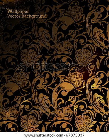 Brown Floral Pattern, 10eps - stock vector
