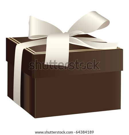 Brown gift box with white ribbon bow - stock vector