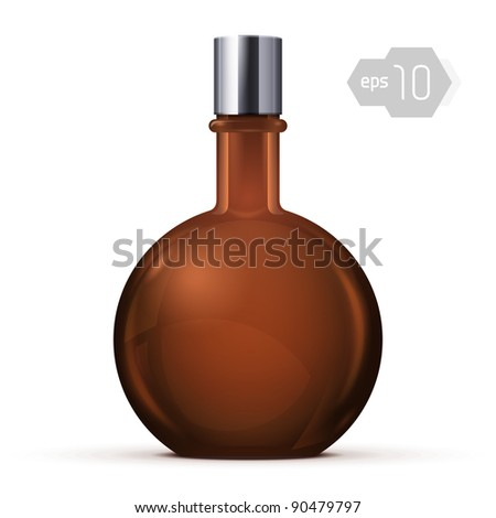 Brown Glass Round Alcohol Bottle Or Perfume Bottle - stock vector