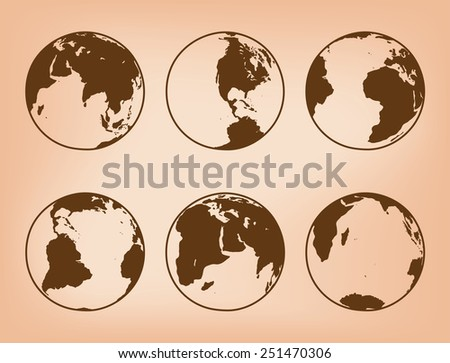 brown globes with continents - vector set of Earth - stock vector
