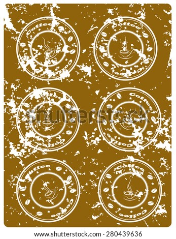Brown grunge background  with coffee stamps - stock vector
