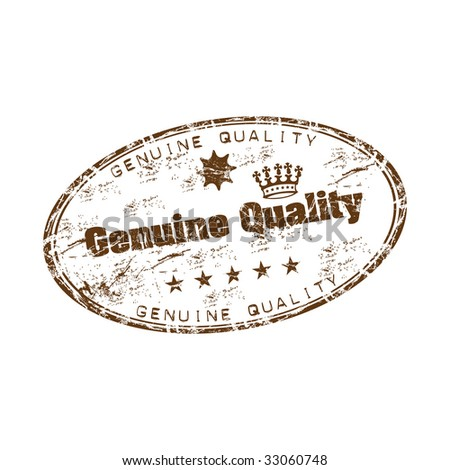 Brown grunge rubber oval stamp with crown shape, small stars and the text genuine quality written inside the stamp - stock vector