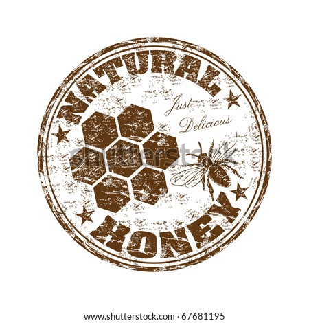 Brown grunge rubber stamp with bee and the text natural honey written inside the stamp - stock vector