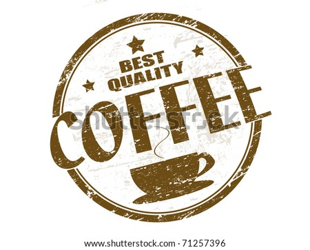 Brown grunge rubber stamp with coffee cup and the word coffee written inside the stamp - stock vector