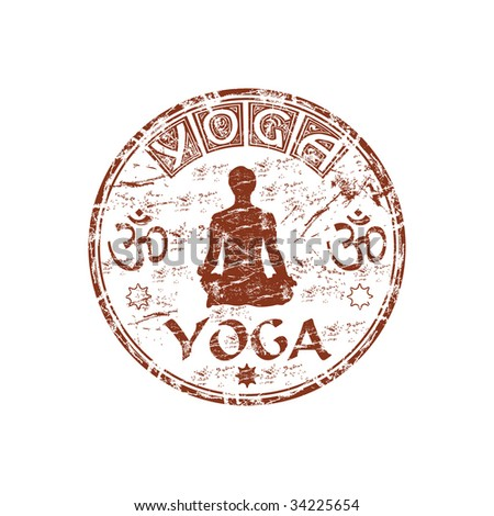 Brown grunge rubber stamp with man silhouette practicing Yoga, hinduism symbols and the word Yoga written inside the stamp - stock vector