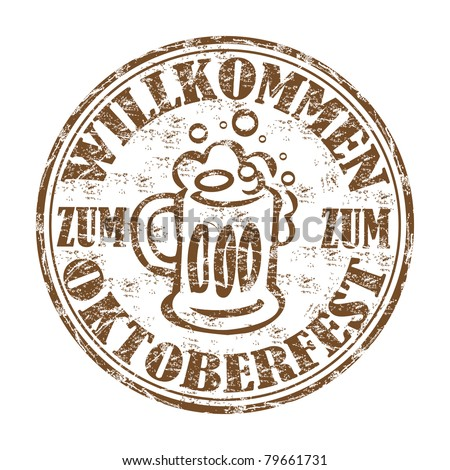 Brown grunge rubber stamp with pint of beer, made especially for the german Oktoberfest festival