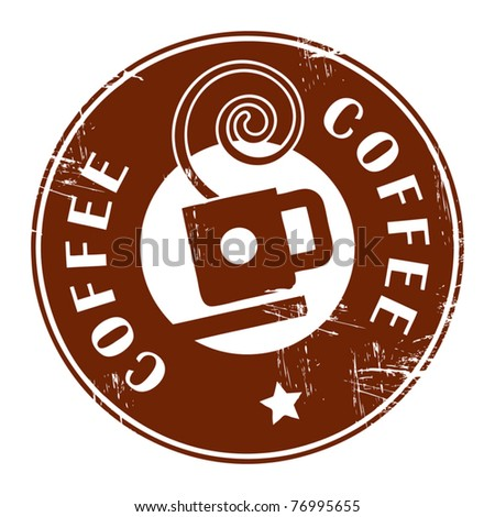 Brown grunge stamp with coffee cup and the text coffee written inside, vector illustration - stock vector
