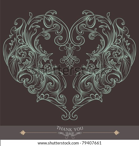 brown heart shape wedding card - stock vector