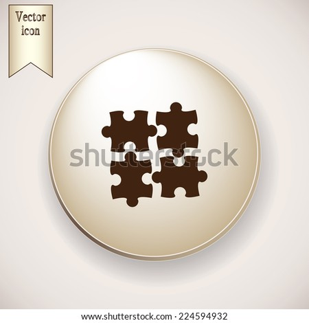 Brown icon on the round button with shadow. puzzle vector icon  - stock vector