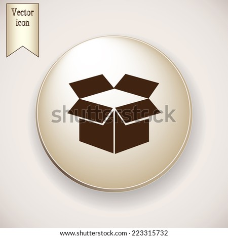 Brown icon on the round button with shadow. Vector icon box - stock vector