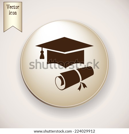 Brown icon on the round button with shadow. Vector icon graduate - stock vector