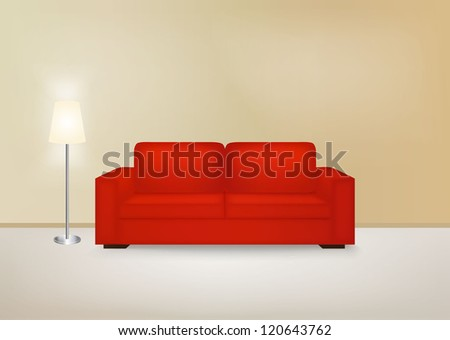 Brown interior with sofa. Vector