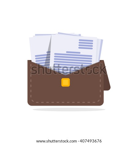 Brown leather briefcase with handle and stitching vector - stock vector