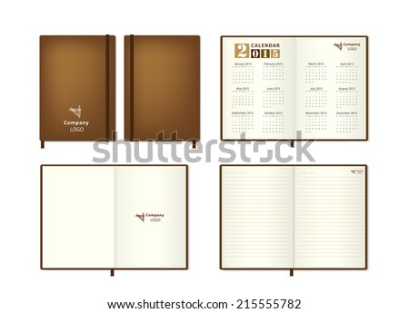 Brown leather diary Vector illustration - stock vector