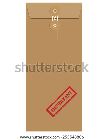 Brown long postal envelope template with red rubber stamp important vector isolated on white  - stock vector
