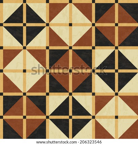 brown marble floor tiles, abstract geometric pattern with texture, seamless vector illustration - stock vector