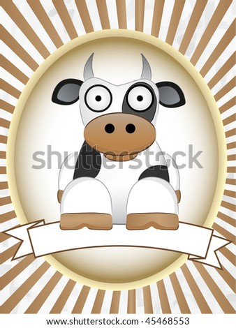 Brown Moo Cow inside brown retail mascot label setting Milk Dairy text friendly