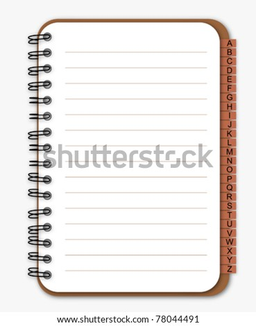 Brown notebook with bookmark - stock vector