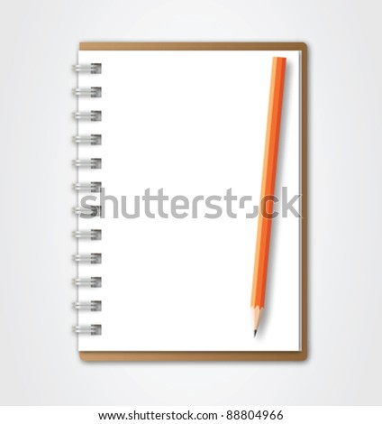 Brown Notebook with pencil vector - stock vector