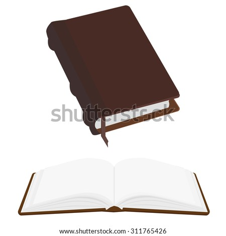 Brown old leather book empty with bookmark vector icon, literature, bible, law, organizer. Opened and closed book - stock vector