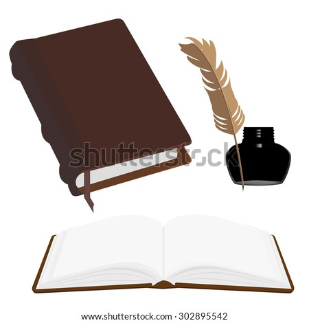 Brown old leather book with bookmark and black inkwell with feather vector set. Opened and closed book - stock vector