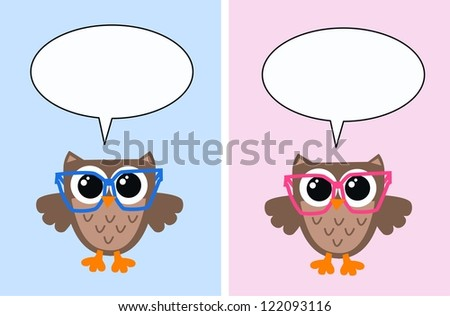brown owls with speech bubbles - stock vector