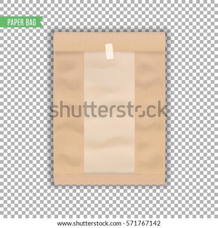 Brown Paper Bag Template Plastic Insert Stock Vector (Royalty Free ...