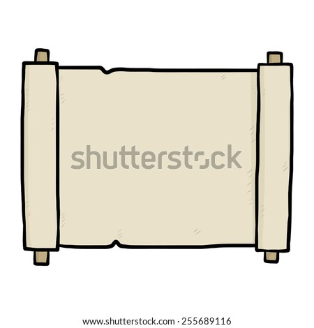 brown paper scroll / cartoon vector and illustration, hand drawn style, isolated on white background. - stock vector