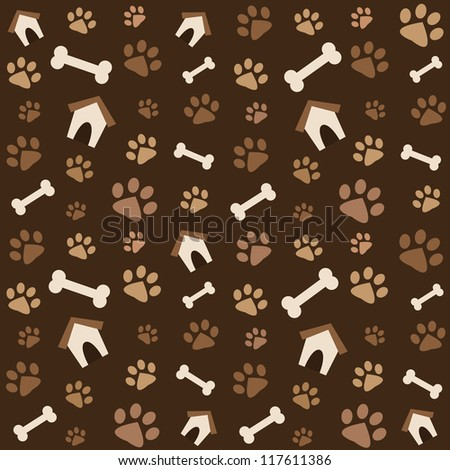 brown pattern with footprints and bones - stock vector
