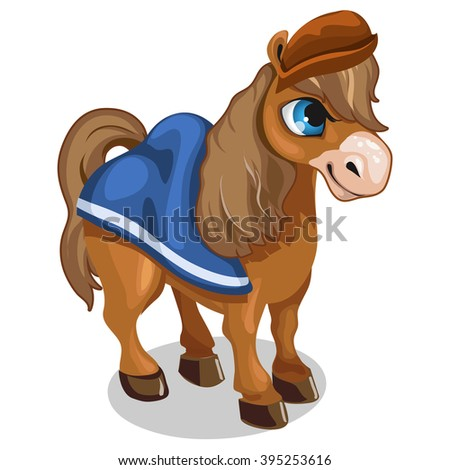 Brown pony from fairy tales. Vector illustration. - stock vector