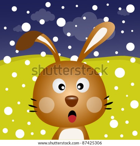 Brown rabbit with snow in the forest