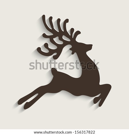 brown reindeer flying stars  - stock vector