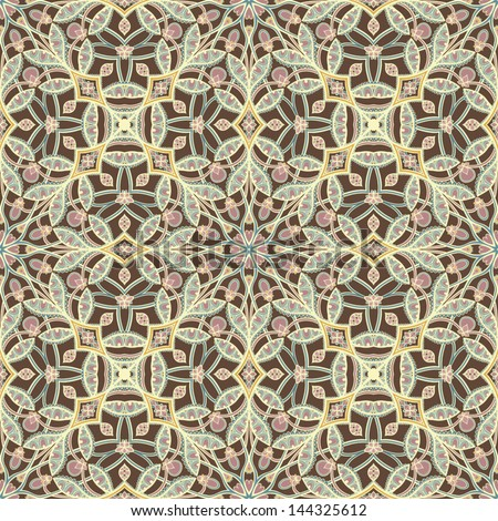 brown retro abstract floral pattern on a beige background. vector illustration
