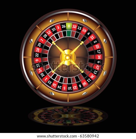 brown roulette wheel isolated over black background - stock vector