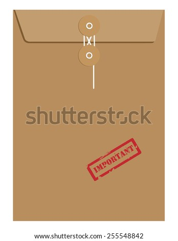 Brown sealed postal envelope template with red rubber stamp important vector isolated on white  - stock vector
