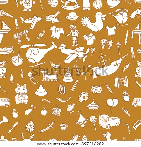 Brown Seamlesbackground of Funny baby toys set. Vector doodle collection of hand drawn icons for baby shower or scrapbook - stock vector