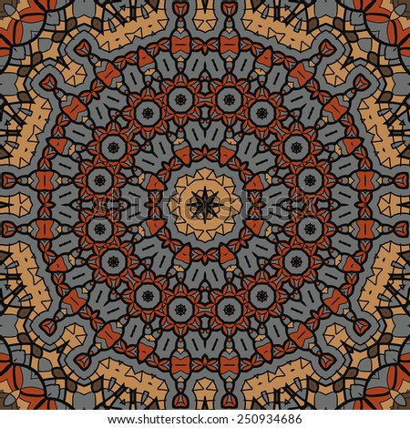 Brown seamless mandala pattern. Background vintage texture vector. Fabric illustration. - stock vector