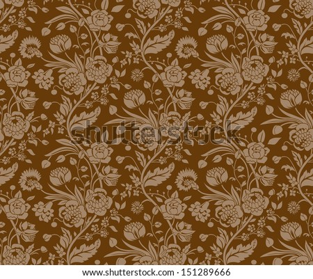 Brown seamless pattern with a vintage flower bouquets carnations and chrysanthemums