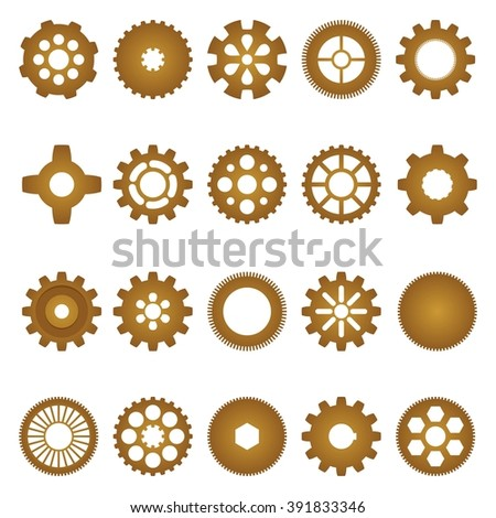 Brown set of inner and outer gears of different shapes and sizes with different numbers of teeth, and the internal shape