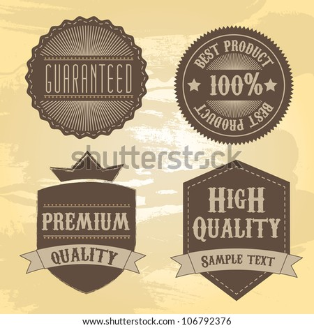 brown tags over beige background. vector illustration - stock vector