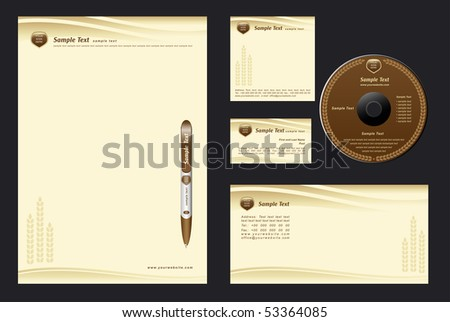 brown template vector background with cones for  bakehouse - blank, card, cd, note-paper, envelope, pen - stock vector