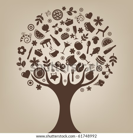 Brown Tree Made Of Products And Subjects Of Restaurant Icons, Vector Illustration - stock vector